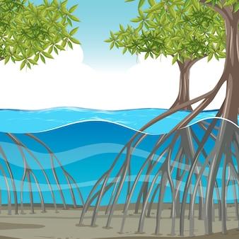 물 속에 맹그로브 나무가 있는 자연 장면