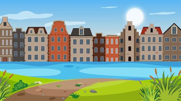 Природа сцена с множеством зданий в парке