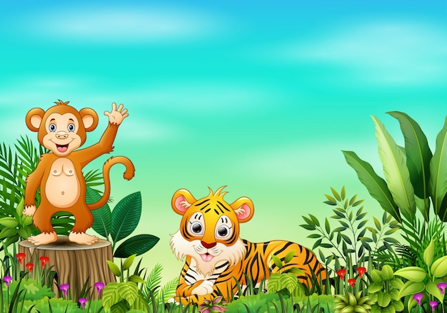 Nature scene with a monkey standing on tree stump and tiger