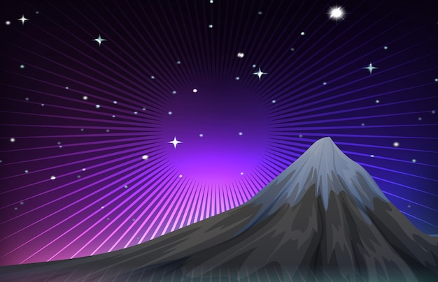 Nature scene with mounatain at night