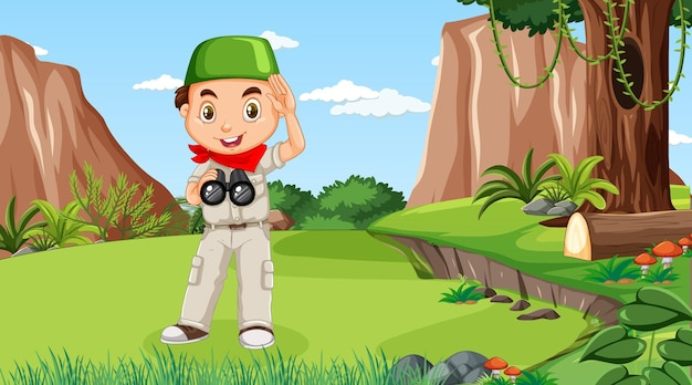Nature scene with a muslim boy cartoon character exploring in the forest