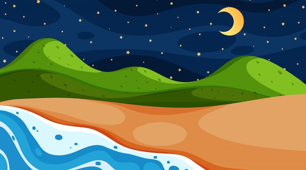 Nature scene with ocean at night time