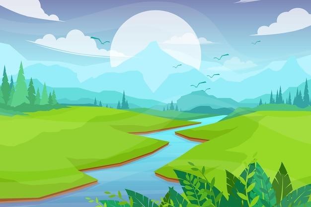 Сцена природы с рекой и холмами, лесом и горами, пейзажная квартира в мультяшном стиле
