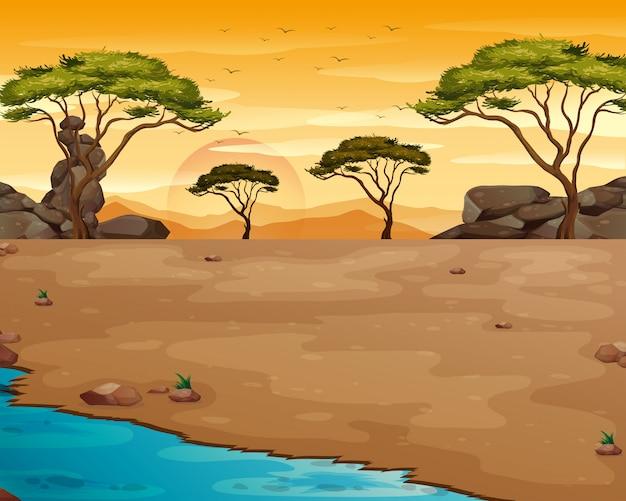 Сцена природы с рекой на закате