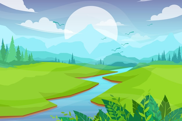 Scena della natura con fiume e colline, foresta e montagna, illustrazione piana di stile del fumetto del paesaggio