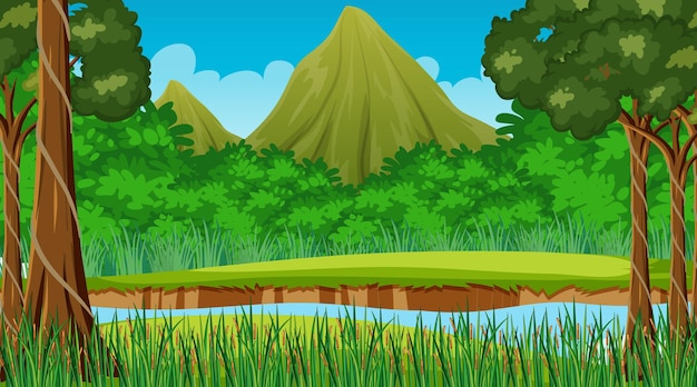 Nature scene with stream flowing through the forest and mountain background