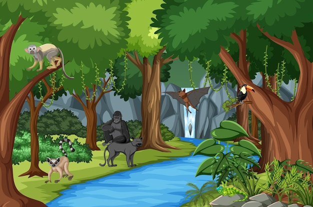 Nature scene with stream flowing through the forest with wild animals