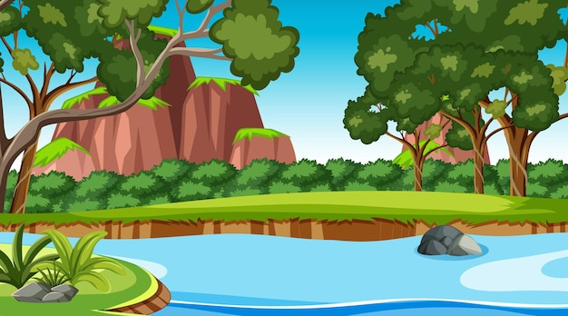森の中を流れる小川のある自然シーン