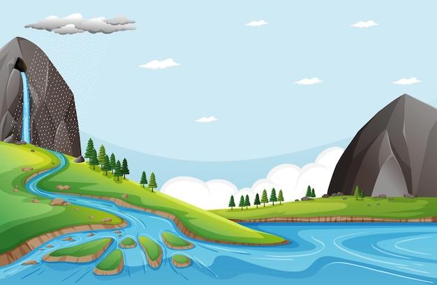 돌 절벽에서 물이 떨어지는 자연 장면