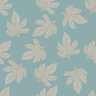 Природа бесшовные каракули шаблон с рисованной серый контур листья орнамент.