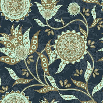 青の上に花の形の自然のシームレスなパターン