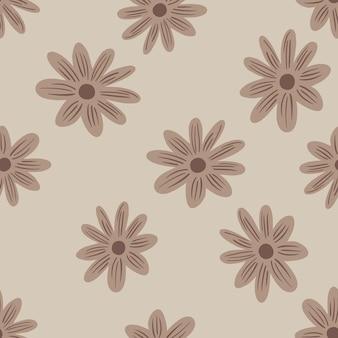 ベージュのランダムなデイジーの花の飾りと自然のシームレスなパターン。灰色の背景。フィールドナチュラルプリント。紙や布のテクスチャを包むためのグラフィックデザイン。ベクトルイラスト。