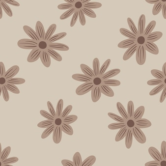 Nature seamless pattern with beige random daisy flowers ornament. grey background. field natural print. graphic design for wrapping paper and fabric textures. vector illustration.