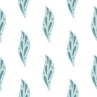 青い幾何学的な葉の要素が印刷された自然のシームレスなパターン。 .