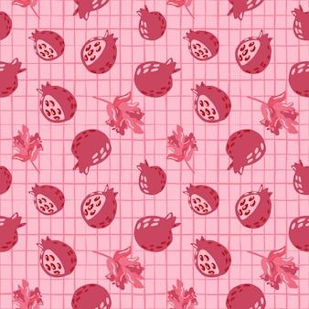 Природа бесшовный образец с гранатами и ветвями с орнаментом ягод