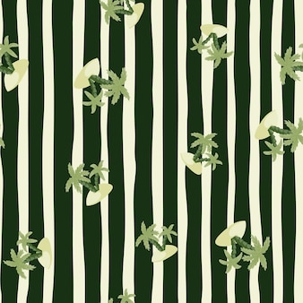 Nature seamless pattern with green exotic island and palm tree silhouettes. black and grey striped background. designed for fabric design, textile print, wrapping, cover. vector illustration.