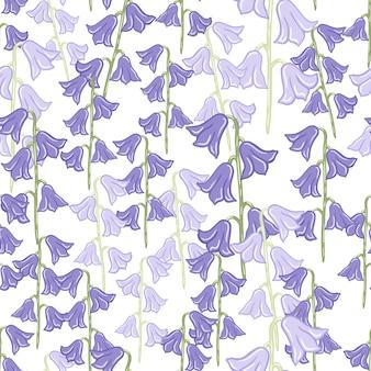 초원 벨 꽃 요소 인쇄와 자연 완벽 한 패턴입니다. 블루프린트. 격리 된 작품입니다. 섬유, 직물, 선물 포장, 월페이퍼에 대한 평면 벡터 인쇄. 끝없는 그림.