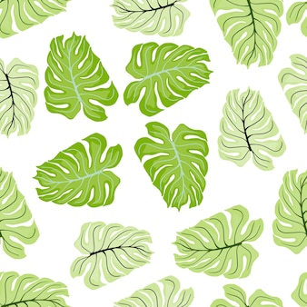 Природа бесшовные модели с пастельными формами монстера зеленые. изолированный фон. ботанический принт.