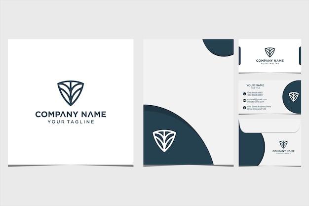 会社と名刺の封筒とレターヘッドプレミアムベクトルプレミアムベクトルのネイチャーシールドロゴデザインのインスピレーション