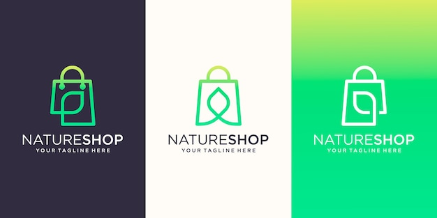 Nature shop, bag combined with leaf line art style logo designs template, Premium Vector
