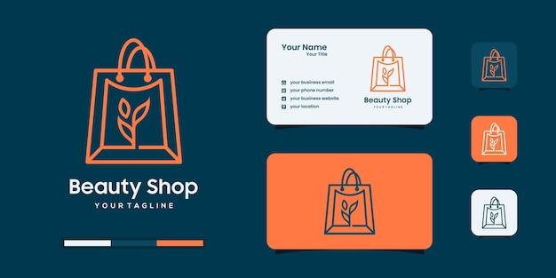 자연 상점 로고 디자인 템플릿입니다. 라인 아트 스타일 로고 영감.