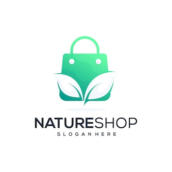 ネイチャーショップのロゴデザイン Premiumベクター