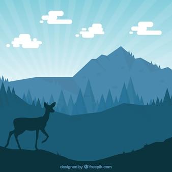 사슴으로 자연 실루엣