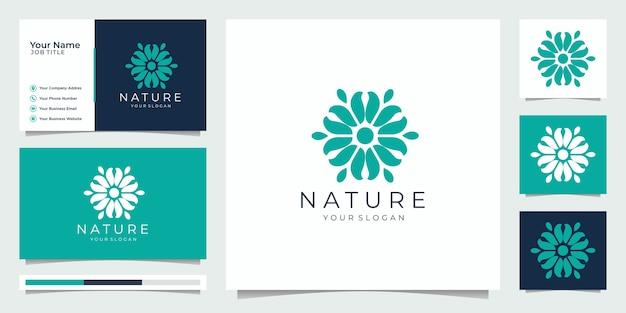 自然シンプルでエレガントな花のモノグラムテンプレート、エレガントなロゴデザイン、名刺イラスト。