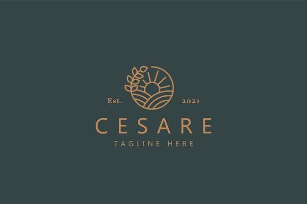 자연 간단한 선 스타일 로고. 원에 일출, 지상 및 식물. 브랜드 회사 및 제품에 대한 배지 로고.