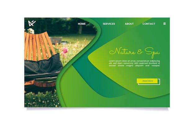 Modello di pagina di destinazione natura e spa