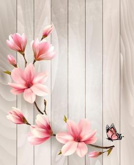 Предпосылка весны природы с красивыми ветвями магнолии на деревянном знаке. вектор.