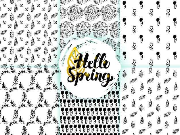 ネイチャースプリングシームレスパターン。花や植物のベクトルイラストタイルの背景。