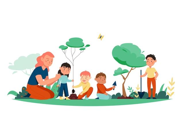 屋外の風景と漫画スタイルの子供のイラストと自然研究の構成