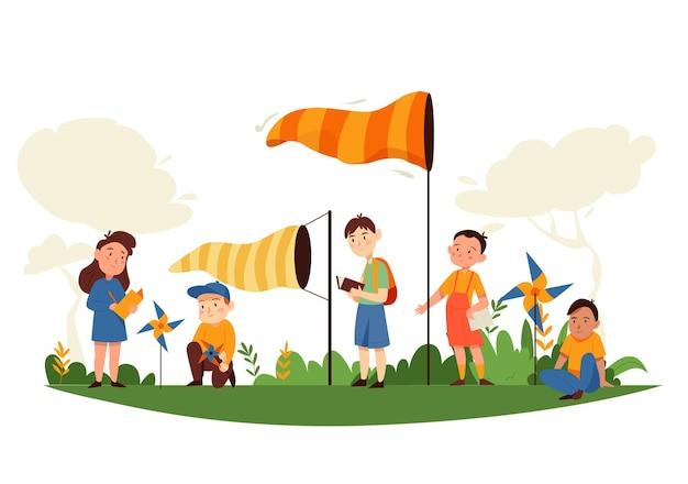 Composizione nello studio della natura con paesaggi all'aperto e personaggi dei cartoni animati di bambini con illustrazione di banderuole fluttuanti libere