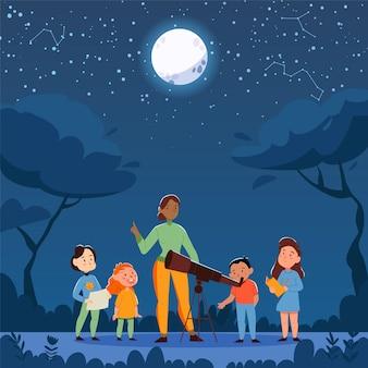 야외 야간 풍경과 교사와 망원경 삽화가 있는 어린이 그룹이 있는 자연 연구 망원경 구성