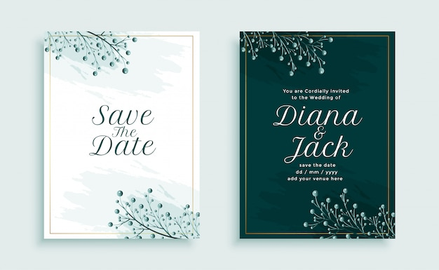 Nature style wedding invitation template design with leaves decoration
