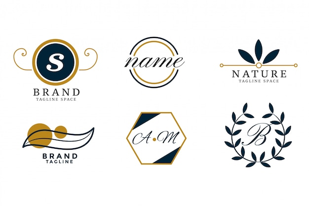 Nature style wedding monogram logos set design