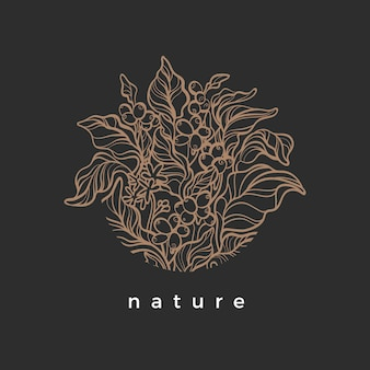 Nature symbol in circle coffee branch with realistic leaf flower bean grain