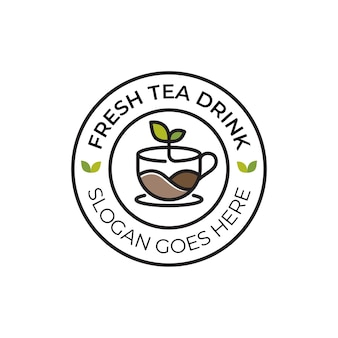 Природный чай, свежий напиток или горячий кофейный лист, логотип для бизнес-кафе