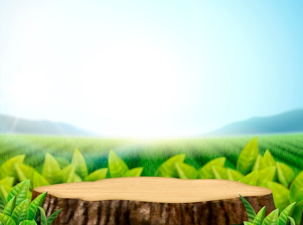 Nature tea garden background with leaves and cut tree trunk in 3d