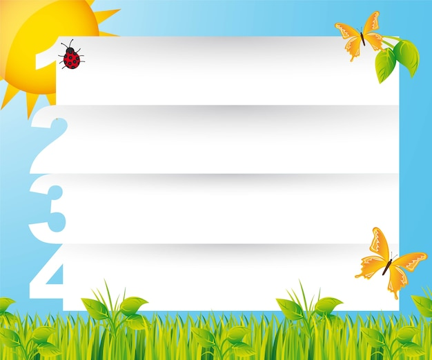Nature templates with butterflies vector illustration
