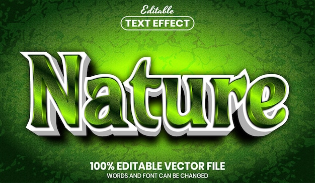 Nature text, font style editable text effect