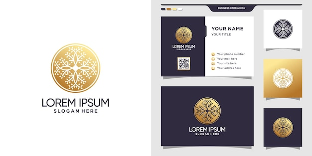 Шаблон логотипа дерева природы с квадратной концепцией и дизайном визитной карточки