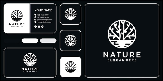 Nature tree logo and water logo design concept with business card