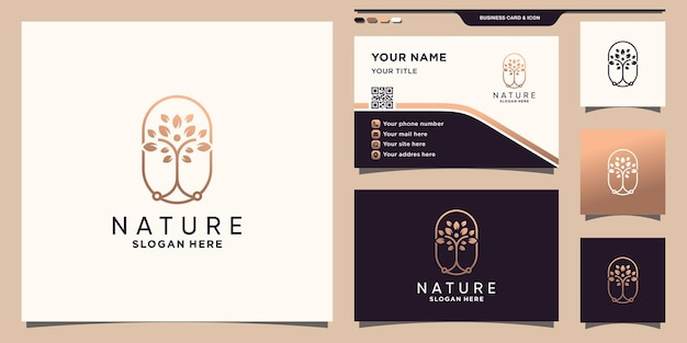 Nature tree logo with line art style and business card design premium vector