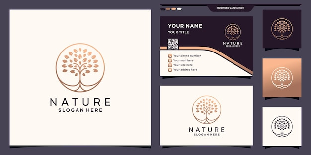 Nature tree logo with unique circle concept and business card design premium vector