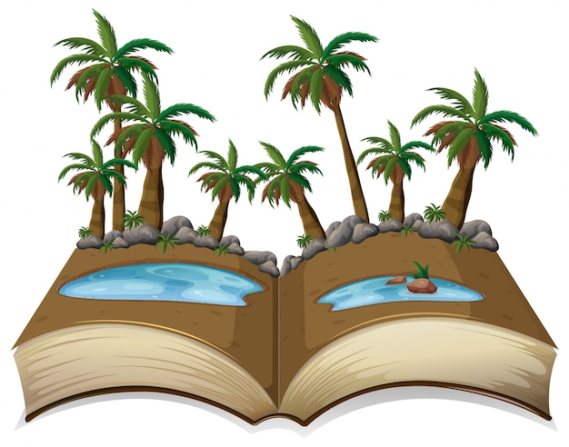 Nature tree open book template
