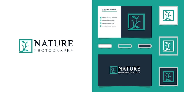 Nature tree photography logo template and business card