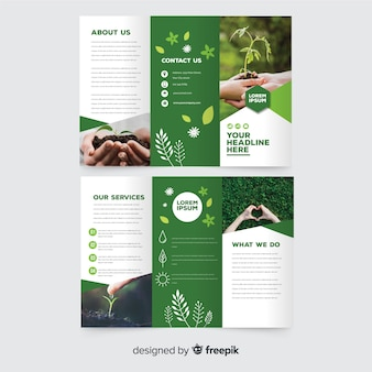 Nature trifold flyer template Premium Vector