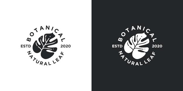 자연 열대 잎 빈티지 로고 디자인 영감
